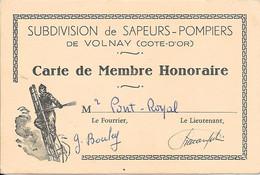 SUBDIVISION De SAPEURS-POMPIERS De VOLNAY (COTE D'OR) Carte De Membre Honoraire - Autres