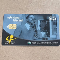 CYPRUS-(1201CY)-years Cyta40-(176)-(5£)-(8/2001)-(1201CY07418107)-used Card+1card Prepiad Free - Cyprus