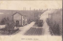7890) CHEZY Sur MARNE - La GARE - BAHNHOF Mit DAMPFLOK - ZUG - Begegnung - VERY OLD - Autres Communes
