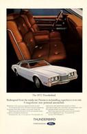 Publicité Papier VOITURE FORD THUNDERBIRD Mar 1972 NG P1051312 - Pubblicitari