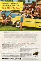 Publicité Papier VOITURE HERTZ RENT A CAR  Feb 1955 NG P1051121 - Pubblicitari