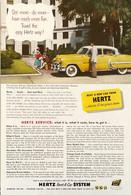Publicité Papier VOITURE HERTZ RENT A CAR  Sept 1953 NG P1051140 - Pubblicitari