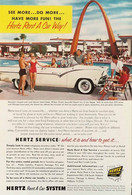 Publicité Papier VOITURE HERTZ RENT A CAR Aug 1955 NG P1051099 - Pubblicitari