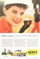 Publicité Papier VOITURE HERTZ RENT A CAR May 1957 NG P1050832 - Pubblicitari
