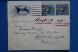 Y5 CHILE SEAPOST  BELLE LETTRE  RARE   1915 POSTE MARITIME SUR  HAMBURG  POUR TURN AUTRICHE VIA PANAMA + + AFF. PLAISANT - Chili