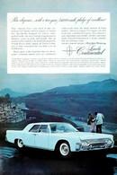 Publicité Papier VOITURE LINCOLN CONTINENTAL Aug 1961 NG P1050886 - Pubblicitari
