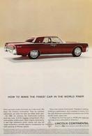 Publicité Papier VOITURE LINCOLN CONTINENTAL Dec 1962 NG P1051061 - Pubblicitari