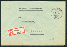1939 (Dec 7) Germany Registered Einschreiben Feldpost Cover, Feldpostamt 227 France - Moers - Covers & Documents