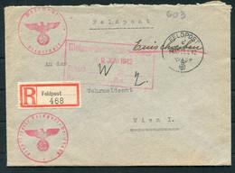 1942 Germany Registered Einschreiben Feldpost 24659 Cover, Feldpostamt 227 Leningrad Russia 18th Army - Covers & Documents