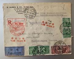 14204 - Lettre Recommandée Vol Shangai - Genève 1931 Via Berlin  !!! Enveloppe Ouverte Sur 3 Côtés - 1912-1949 República