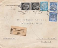 ALLEMAGNE  LETTRE RECOMMANDEE DU CONSULAT DE FRANCE A INNSBRUCK (AUTRICHE ANNEXEE)  CACHET D'ARRIVEE - Covers & Documents