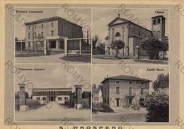 CARTOLINA  S.PROSPERO,MODENA,EMILIA ROMAGNA,PALAZZO COMUNALE,CONSORZIO AGRARIO,CAFFE SPORT,CHIESA,VIAGGIATA 1954 - Modena
