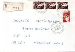 LETTRE RECOMMANDEE 1981 - AFFRANCH. TYPE SABINE - POSTEE A DRAGUIGNAN SAINT LEGER GUICHET ANNEXE (GA) - 1961-....