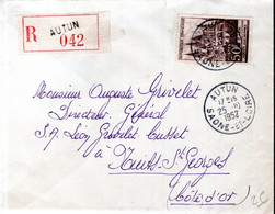 LETTRE RECOMMANDEE FRANCE 1952 - POSTEE A AUTUN   - - 1961-....