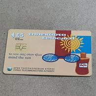 CYPRUS-(1500CY)-Mind The Sun-(186)-(5£)-(7/2000)-(1500CY04156064)-used Card+1card Prepiad Free - Cyprus