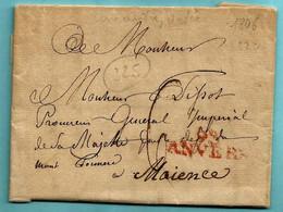 Brief Met Inhoud 10/09/1806, Lijnstempel 93 / ANVERS (Herlant 23 : 32,5x10 Mm) Naar Procureur Général à Maience,port : 6 - 1794-1814 (French Period)