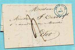 Brief Met Inhoud, Afst. BRUXELLES 05/08/1845 Naar EECLOO 06/08/1845 - Fabricant Amidon Eeklo, Port : 4 - 1830-1849 (Independent Belgium)