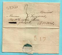 """Brief Zonder Inhoud Ca 1826, Lijnstempel GEND (Herlant 60 : 22x5,5 Mm) Naar Antwerpen, Verso Aankomstmerkteken """"5 17"""" - 1815-1830 (Dutch Period)"""