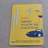 CYPRUS-(1600CY)-If You Drink Let Others Drive-(189)-(5£)-(7/2000)-(1600CY03962021)-used Card+1card Prepiad Free - Cyprus