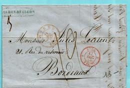 Brief Met Inhoud, Afst. ANVERS 11/12/1850 Via BELG. VALENCIENNES Naar BORDEAUX 14/12/1850, Port 12 + Gewicht 25 Gr - 1849 Epaulettes