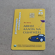 CYPRUS-(1600CY)-If You Drink Let Others Drive-(190)-(5£)-(7/2000)-(1600CY04001019)-used Card+1card Prepiad Free - Cyprus