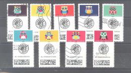 France Autoadhésifs Oblitérés N°1921 à 1929 (Série Complète : Chouettes Lettre Suivie) (lignes Ondulées) - Used Stamps