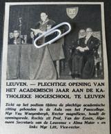 LEUVEN..1948.. PLECHTIGE OPENING VAN HET ACADEMISCH JAAR/ PROF. VAN DER ESSEN / MGR. VAN WAEYENBERGH - Unclassified