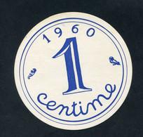 """Rare ! Jeton Géant D'école En Carton 11cm """"1 Franc Ancien / 1 Centime 1960"""" - Andere"""