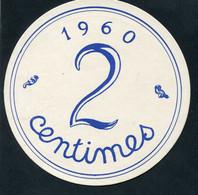 """Rare ! Jeton Géant D'école En Carton 12cm """"2 Francs Anciens / 2 Centimes 1960"""" - Autres"""