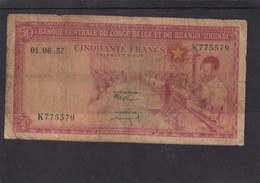 Belgian Congo And Ruanda-urundi  50 Fr 1957 - Sin Clasificación
