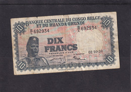 Belgian Congo And Ruanda-urundi  10 Fr 1958 - Sin Clasificación