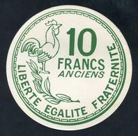 """Rare ! Jeton Géant D'école En Carton 15cm """"10 Francs Anciens / 10 Centimes 1960"""" - Autres"""