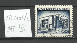 LETTLAND Latvia 1939 Michel 276 Perf 10: 10 1/2 WM Normal Horizontal O - Lettonia