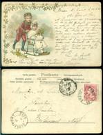 Belgie 1902 Ansichtkaart Jongen Met Meisje Op Slee Van Braine-le-Comte Naar Berlaimont Nr. 2015 - 1900-1949