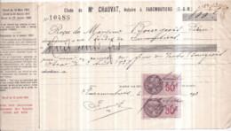 Dépt 77 - FAREMOUTIERS - Étude De Me CHAUVAT Notaire - Reçu De Mr BOURGEOIS 800 F Le 2 Août 1937 - Timbres Fiscaux - Faremoutiers