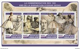 TOGO 2017 SHEET EDGAR DEGAS ART PAINTINGS ARTE PINTURAS Tg17217a - Togo (1960-...)