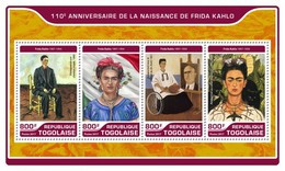TOGO 2017 SHEET FRIDA KAHLO ART PAINTINGS ARTE PINTURAS Tg17221a - Togo (1960-...)