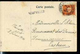CP Fantaisie Obl. Ambulant 09/02/1914  + GRiffe De NEUFVILLES - Linear Postmarks