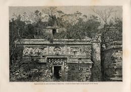 1862 Print Yucatan Mexico Guatemala Maya Chichen Itza Palace Temple Architecture - Prints & Engravings