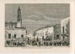 1862 Print Yucatan Mexico City Merida Architecture Square Cross - Prints & Engravings