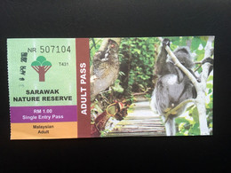 Nature Reserve Entry Ticket Malaysian Adult Sarawak Malaysia Colugo Nepenthes Pitcher Plant Long-tailed Macaque Wildlife - Unclassified