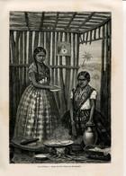 1862 Print Mexico Girl Fashion Costume Cakes The Dough Tortellini Kitchen Cook - Prints & Engravings
