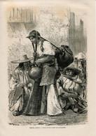 1862 Print Mexique Mexico Water Carrier Fashion Sombrero Suit - Prints & Engravings