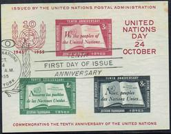 UNITED NATIONS NEW YORK 1955 10th Anniversary Of The UN Sheet U - Gebraucht