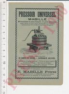Publicité Pressoir Universel Mabille Amboise Taufflieb Chaussard Louet Issoudun Forges De Larian 70 Dérosne Le Caldus8AN - Unclassified