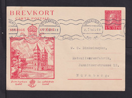"1935 - 15 Ö. Bild Ganzsache ""Lund"" Ab Stockholm Nach Nürnberg - Postal Stationery"