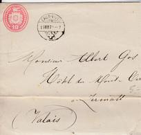 Lettre Entier Postal Oblitérée : EAUX-VIVES Le 15.VII.1874 à Destination De ZERMATT - 12 X 8 Cms. - Enteros Postales