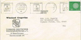 41270. Carta DUSSELDORF (Alemania Federal) 1971. Wine Grapevine. Dusseldorfer Messen. Tema EUROPA - Covers & Documents