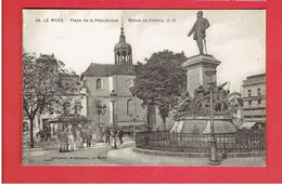 LE MANS PLACE DE LA REPUBLIQUE CINEMA THEATRE MONUMENT CHANZY  CARTE EN BON ETAT - Le Mans