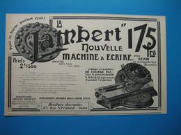 (1905) Machine à écrire LAMBERT à Clavier Circulaire - Rue Vivienne à Paris (lot De 3 Publicités) - Pubblicitari